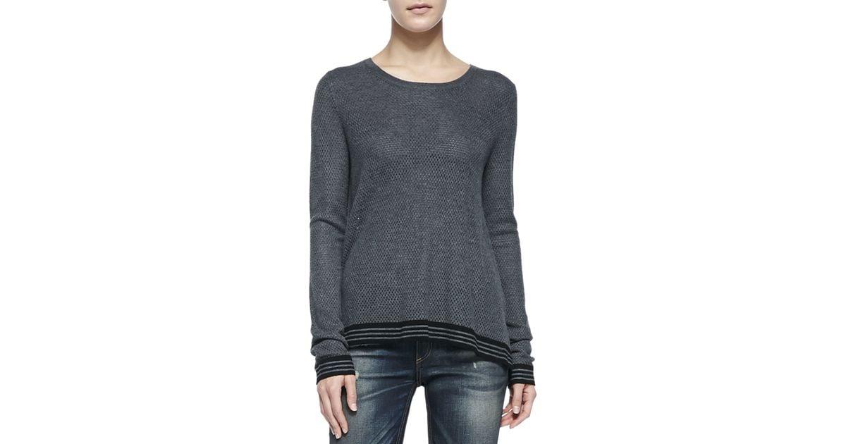 cffd40f9755 Lyst - Rag   Bone Nikki Split-back Sweater W  Striped Trim in Gray