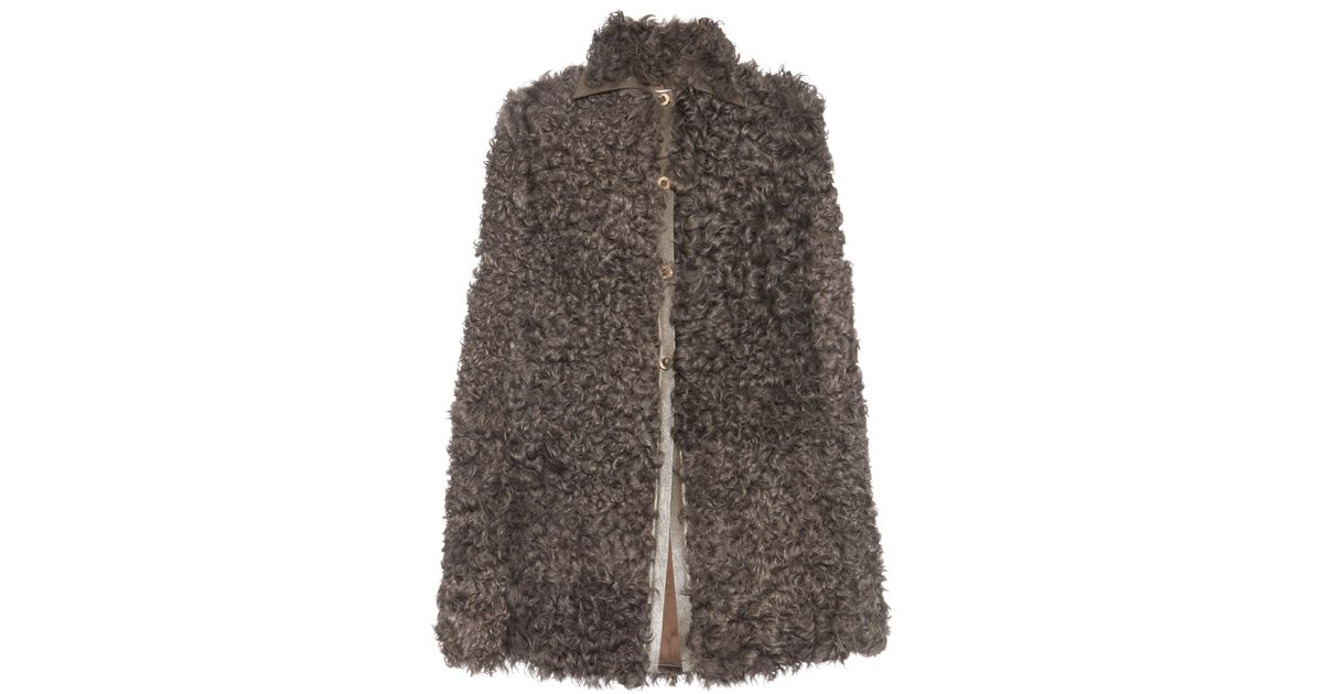 Valentino Kalgan Curly-shearling Cape in Natural | Lyst