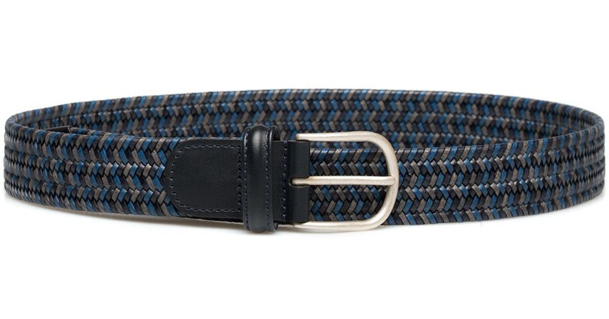 andersons navy woven leather belt in blue for lyst