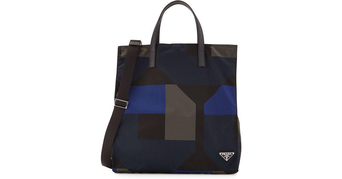 76ec85931c160d ... free shipping lyst prada mens printed nylon tote bag in black for men  0ae82 e64c0