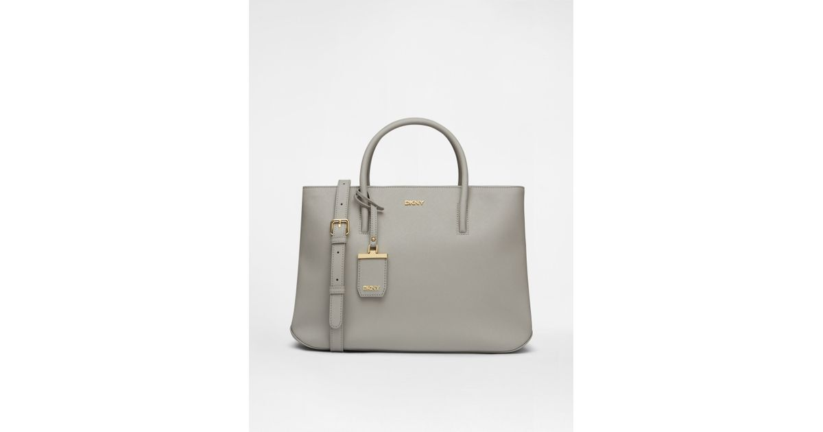 Lyst - DKNY Saffiano City Zip Shopper in Gray 89dfee5620d80