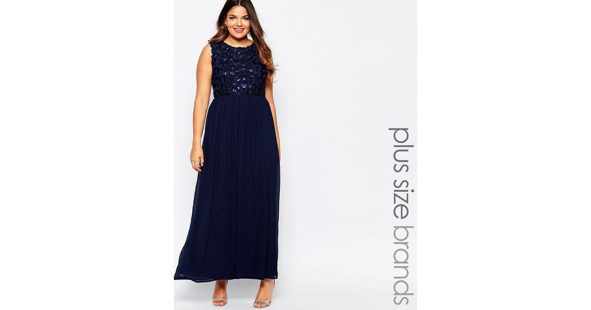 Club L Blue Plus Size Maxi Dress With 3d Floral Sequin Top