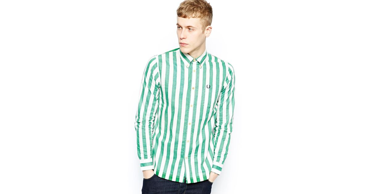 Fred Perry Southsea Deck Chairs Striped Shirt In White For