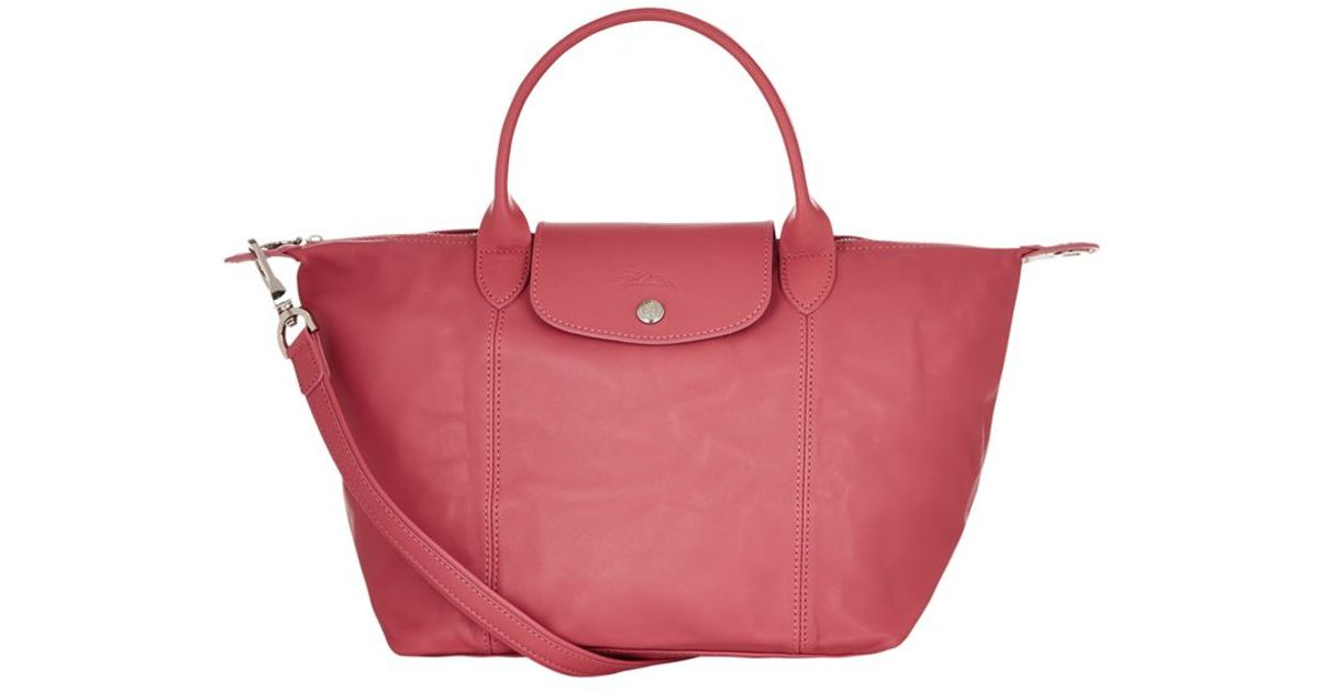 8a77e1e25dd5 Longchamp Le Pliage Cuir Small Handbag in Pink - Lyst