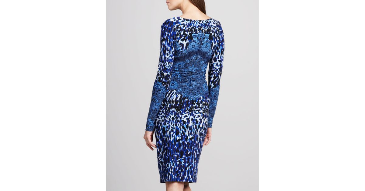 cb36506b7db1 David Meister Long-sleeve Animal-print Dress in Blue - Lyst