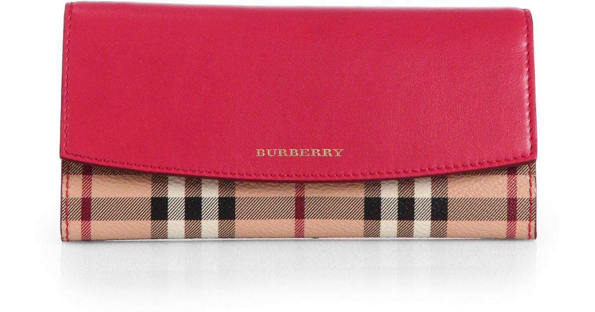 Lyst - Burberry Porter Foldover Wallet in Pink e5d3a3cadf