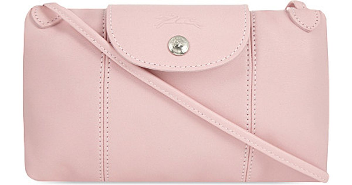 2ad75558c1c4 Longchamp Le Pliage Cuir Leather Cross-body Bag in Pink - Lyst