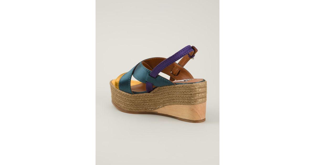c74bcf46918 Lanvin Multicolor Wedge Espadrilles Sandals