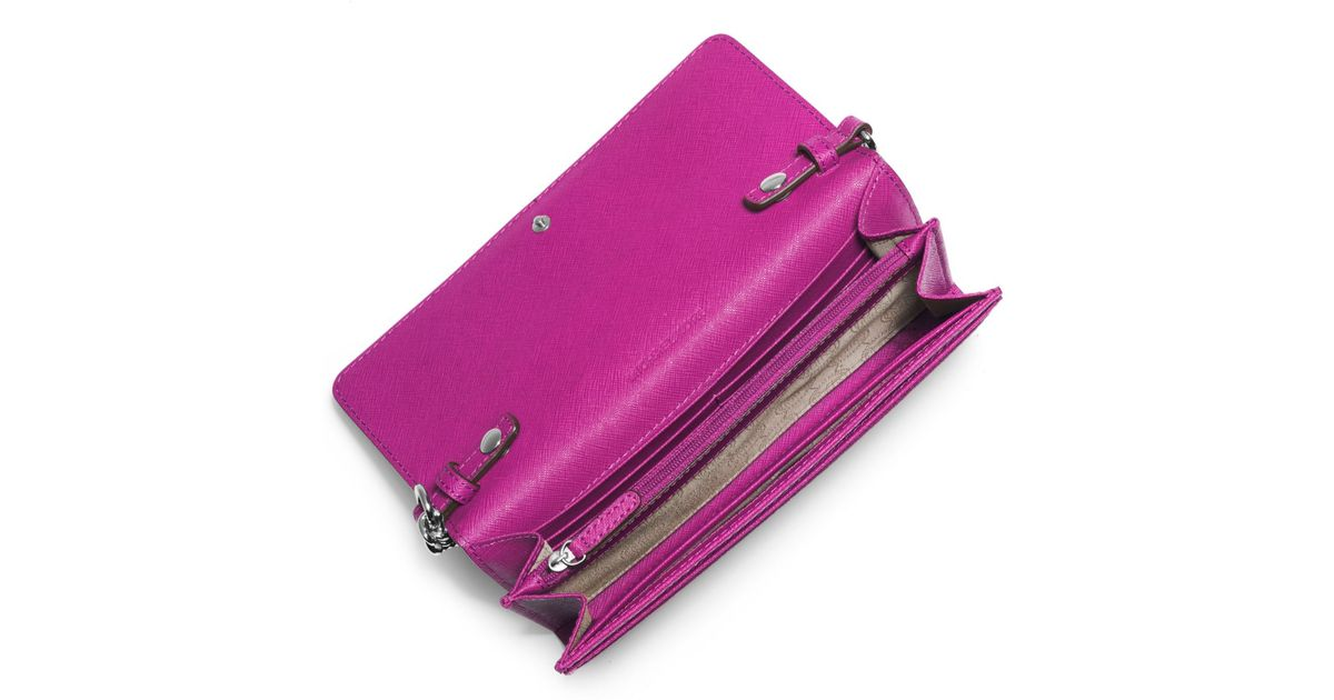 4428335117c385 Michael Kors Jet Set Travel Saffiano Leather Chain Wallet in Purple - Lyst