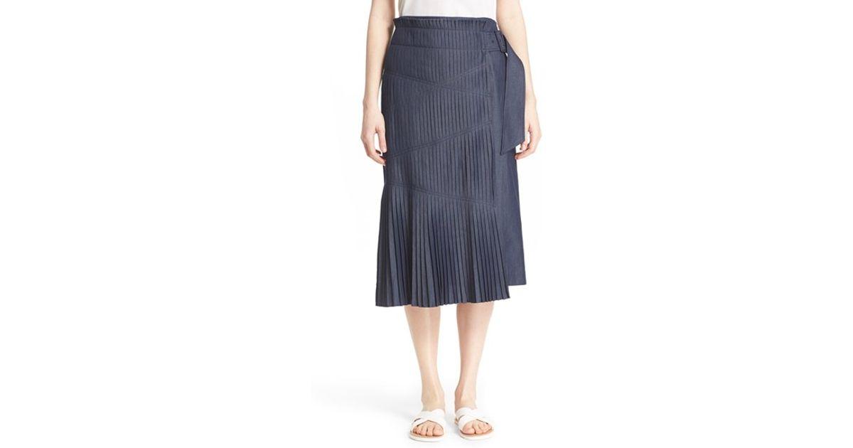 tibi manuela pleated cotton midi skirt in gray lyst