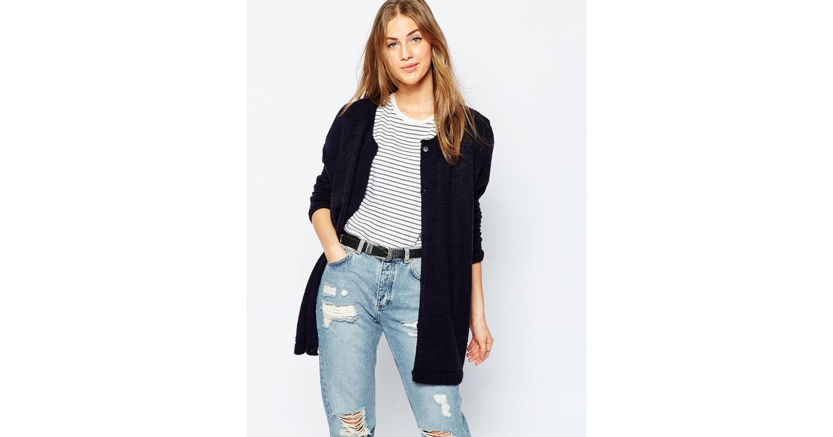 Asos Boyfriend Cardigan With Crew Neck In Soft Yarn - Navy in Blue ...