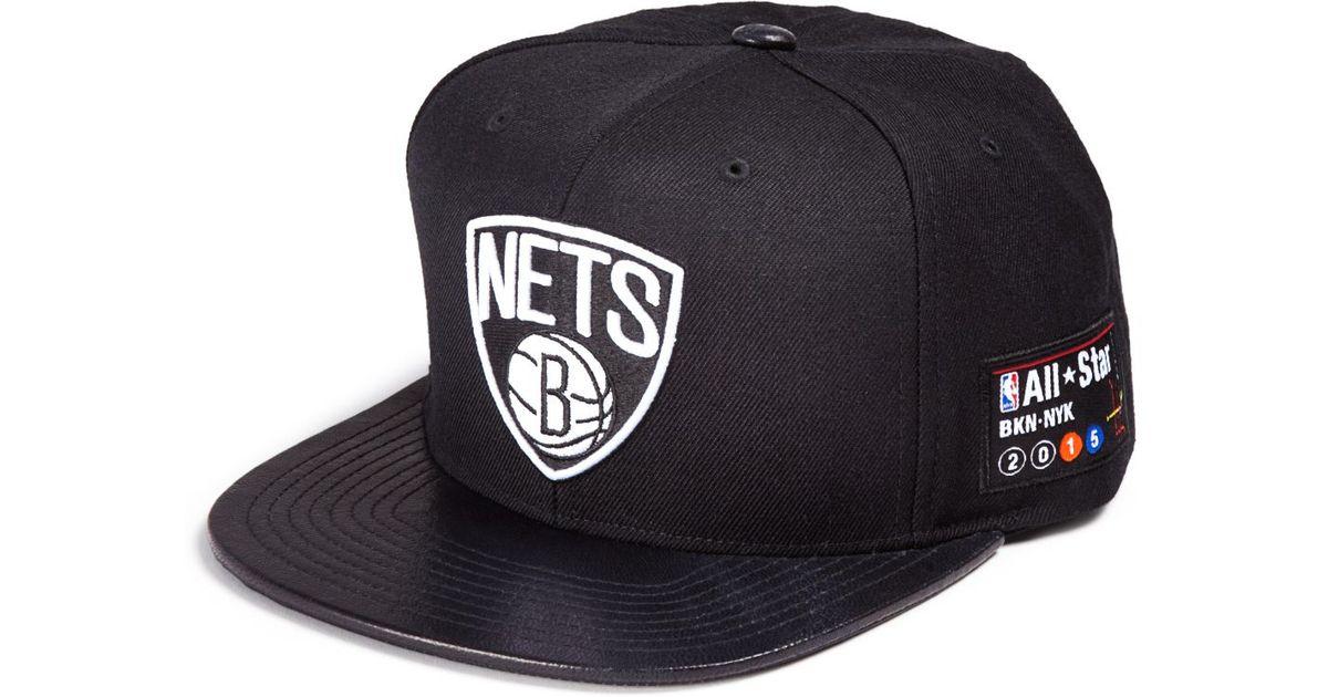 d707f9c8 ... greece lyst mitchell ness leather brim brooklyn nets cap in black for  men cbd56 ae94a