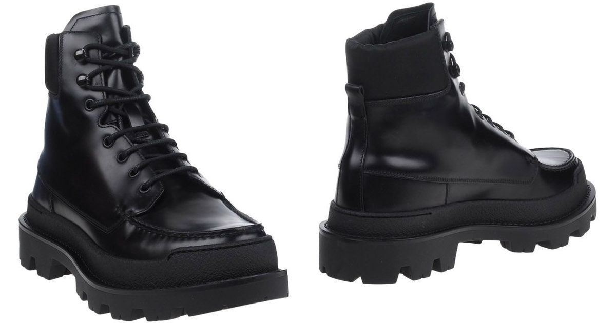 prada leather ankle boots in black for lyst