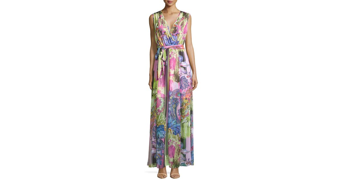217a0457137 Lyst - Alberto Makali Sleeveless Floral-Print Maxi Dress in Pink