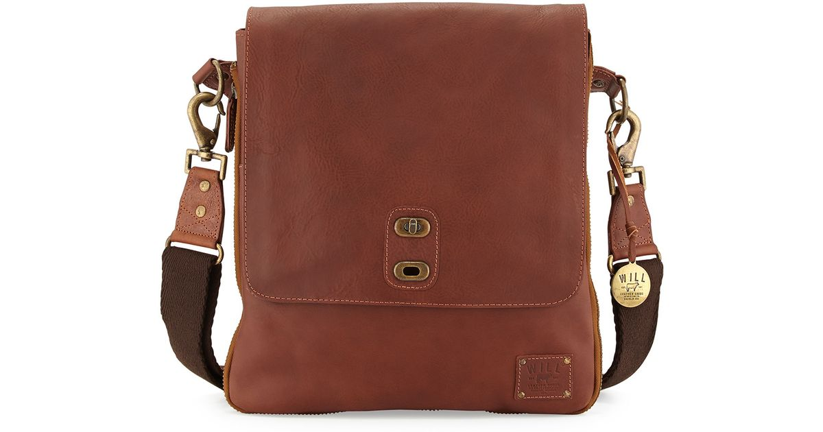 Will Leather Goods Brown Otto Men S Crossbody Satchel Bag For