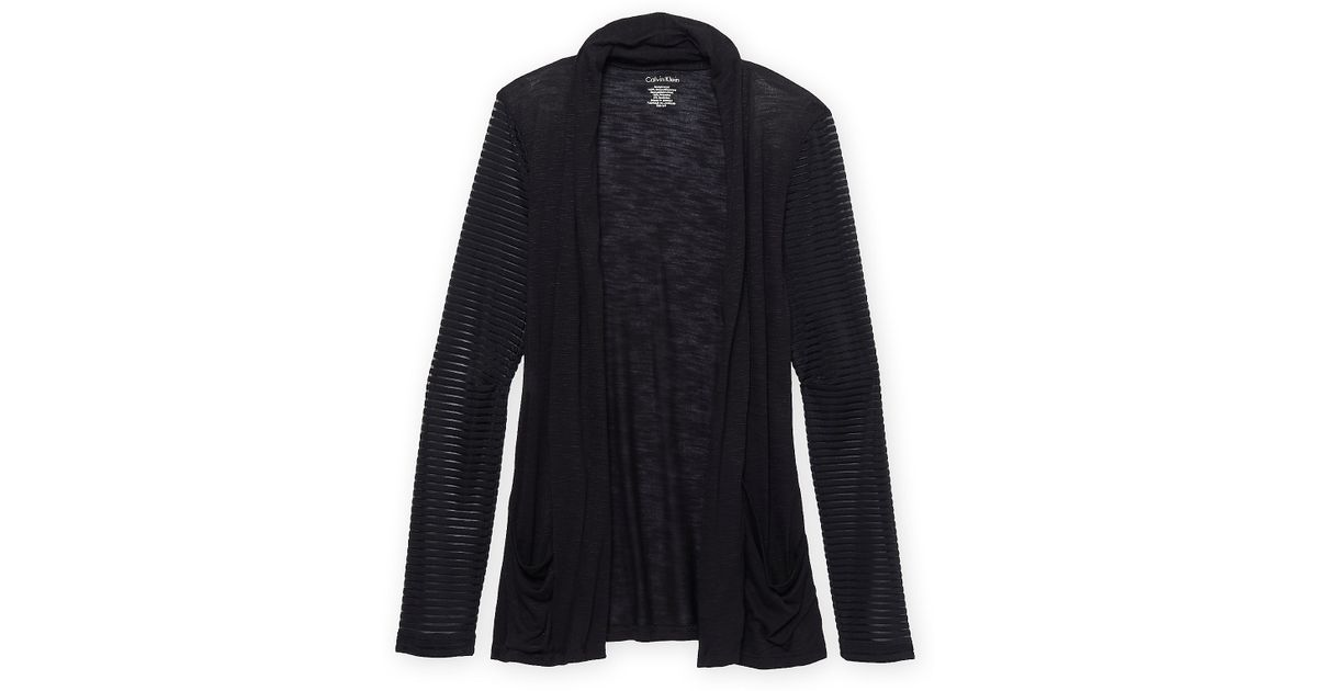 Calvin klein White Label Sheer Stripe Open Front Cardigan in Black ...