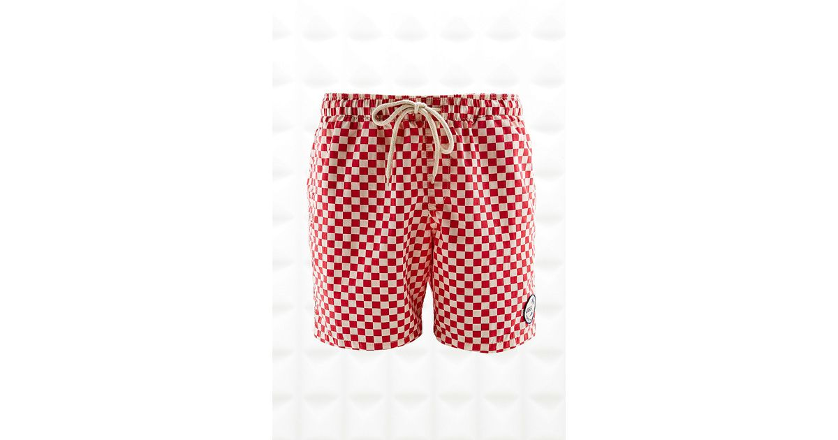 36443f21bc Vans Checkerboard Swim Shorts in Red and White in Red for Men - Lyst