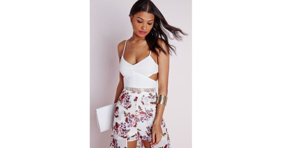 8e601ea8cb8 Missguided Cut Out Lace Trim Bralet White in White - Lyst