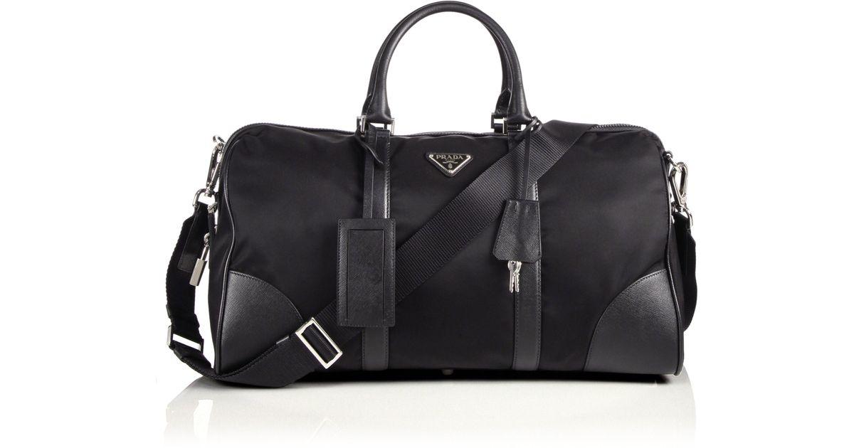7c06adbfff77 Prada Nylon  u0026amp  Saffiano Leather Duffel Bag in Black for Men