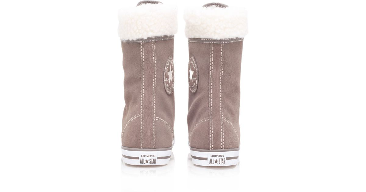 a1d56c1a16bd Converse Taupe Chuck Taylor Dainty Shearling Hi Top Trainers in Brown - Lyst
