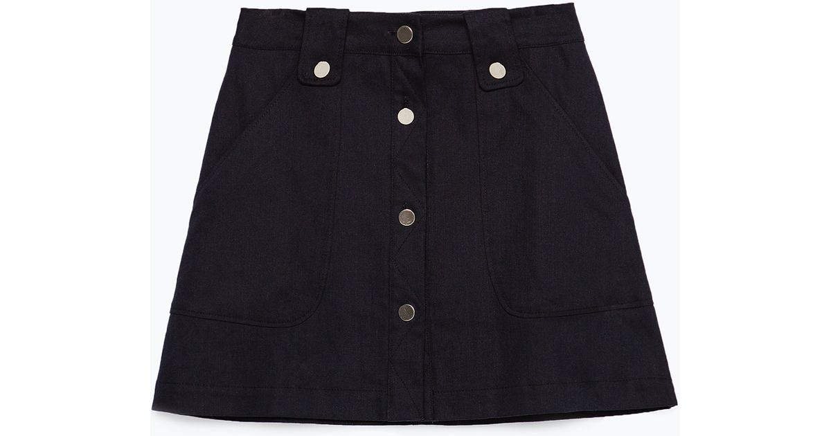zara flared skirt with front buttons in blue navy blue