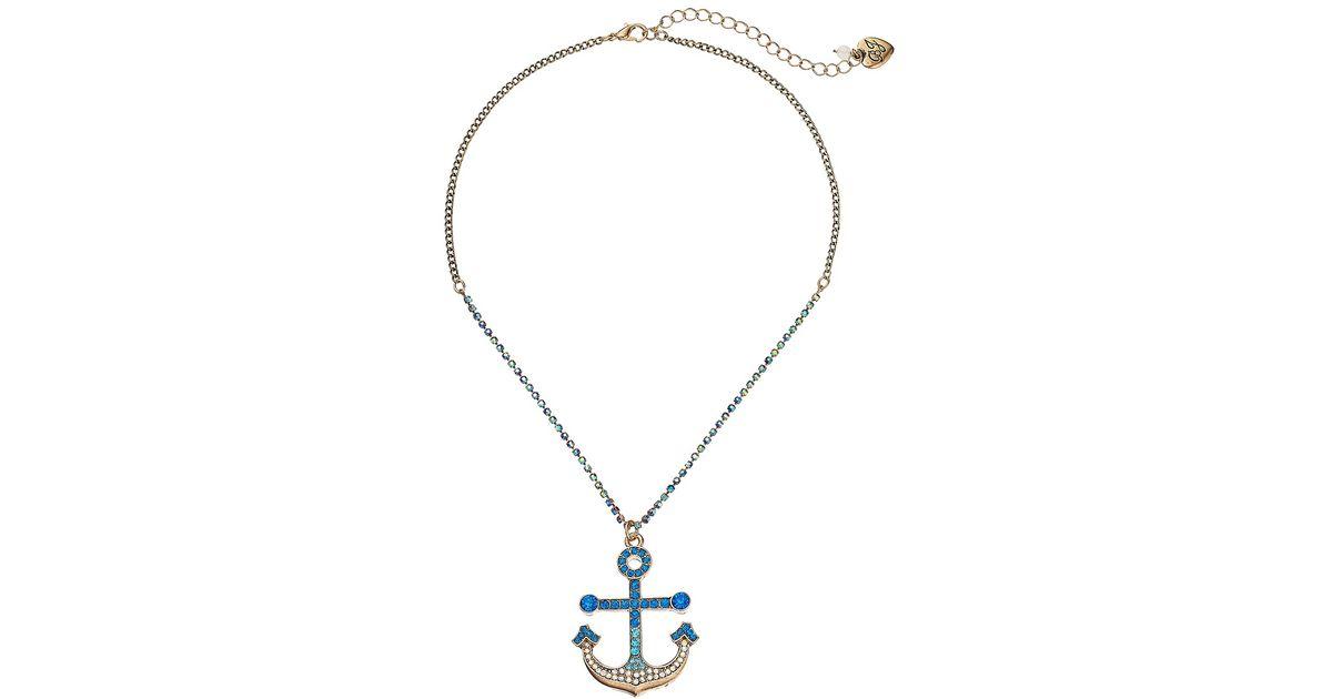 Betsey Johnson Womens Anchor Pendant Mixed Long Necklace
