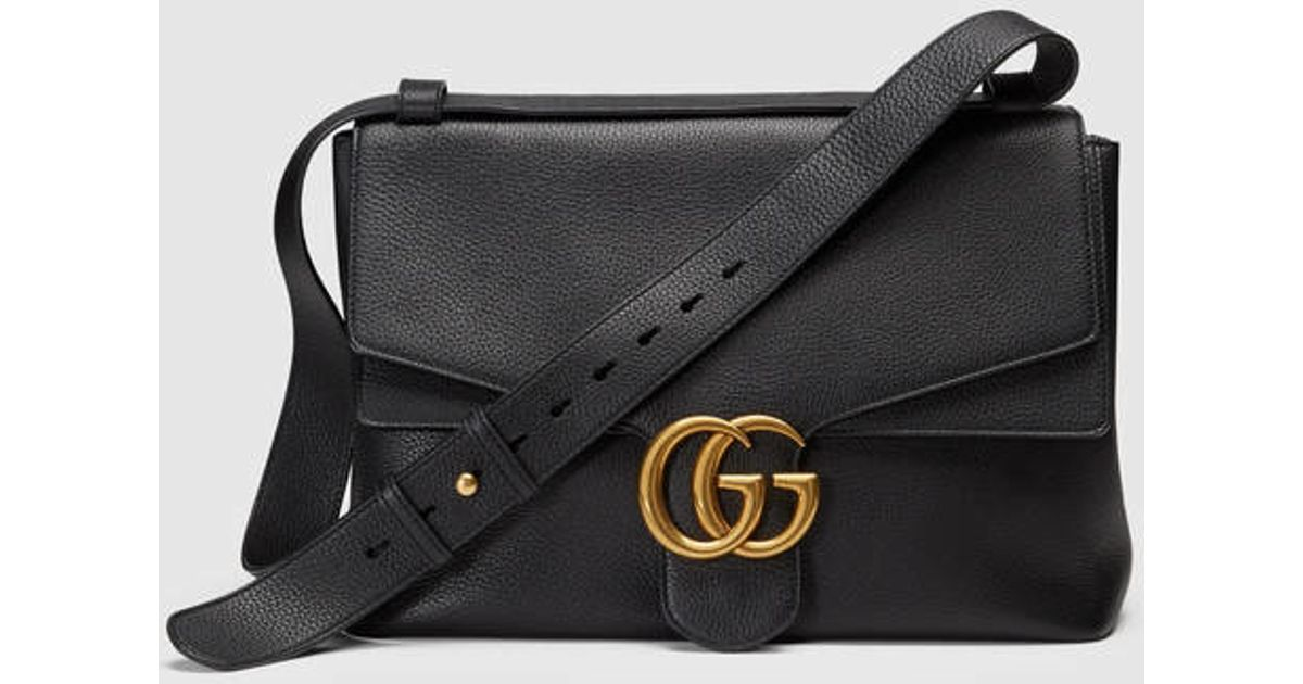 75cad625b Gucci Gg Marmont Leather Shoulder Bag in Black - Lyst