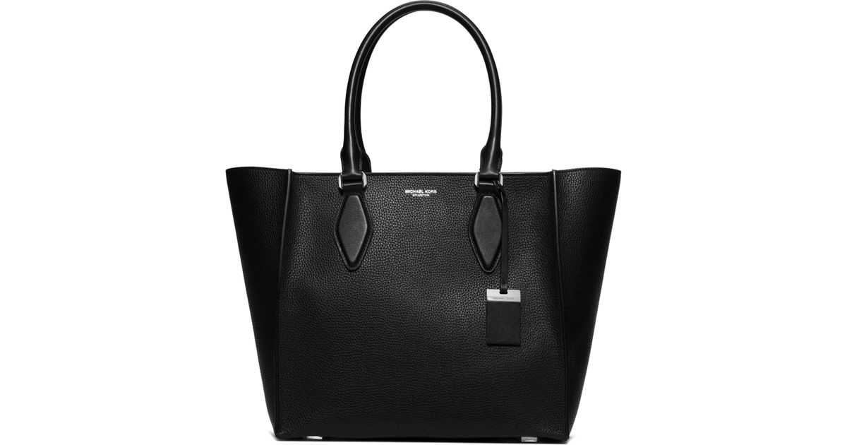 7ce634f1321d6 Lyst - Michael Kors Gracie Large Leather Tote in Black