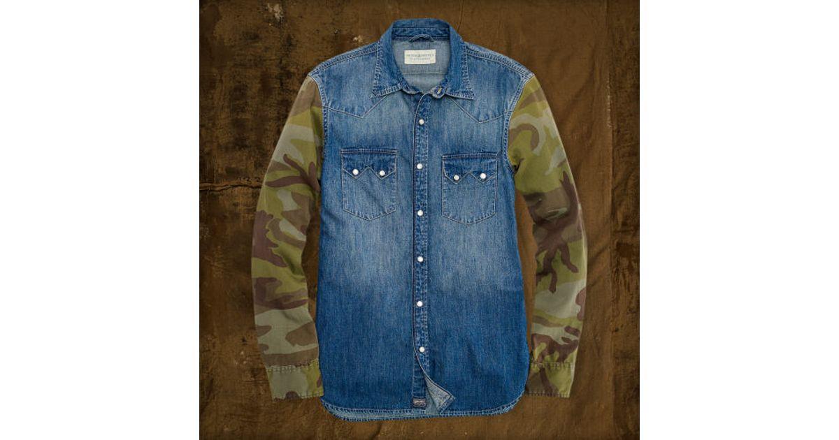 1001c9cde0 Lyst - Denim   Supply Ralph Lauren Camosleeved Western Shirt in Blue for Men