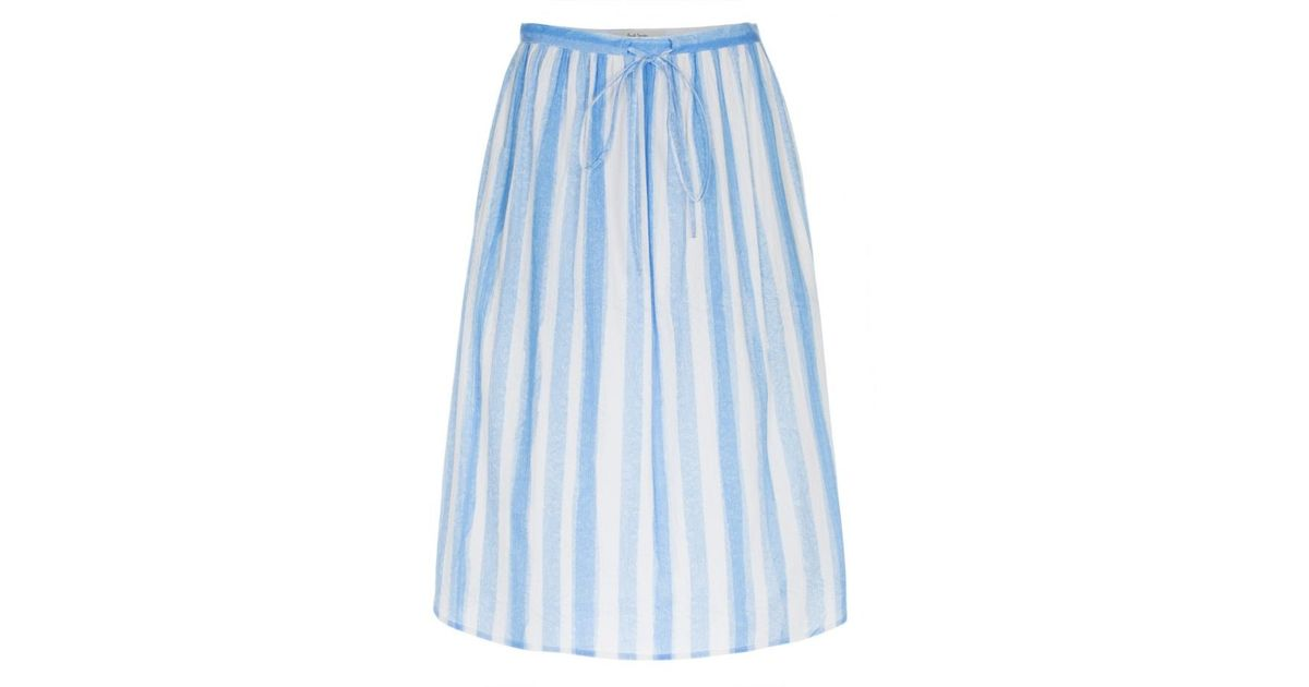 paul smith s blue and white striped cotton skirt in