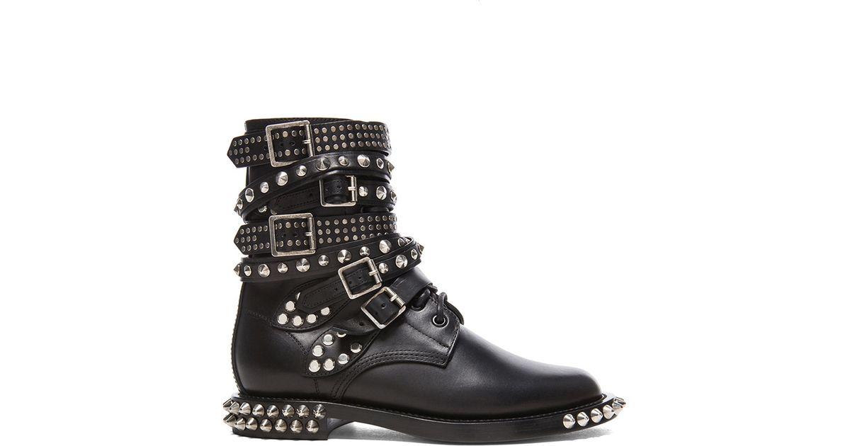 51a500db856 Saint Laurent Black Rangers Double Studded Leather Combat Boots