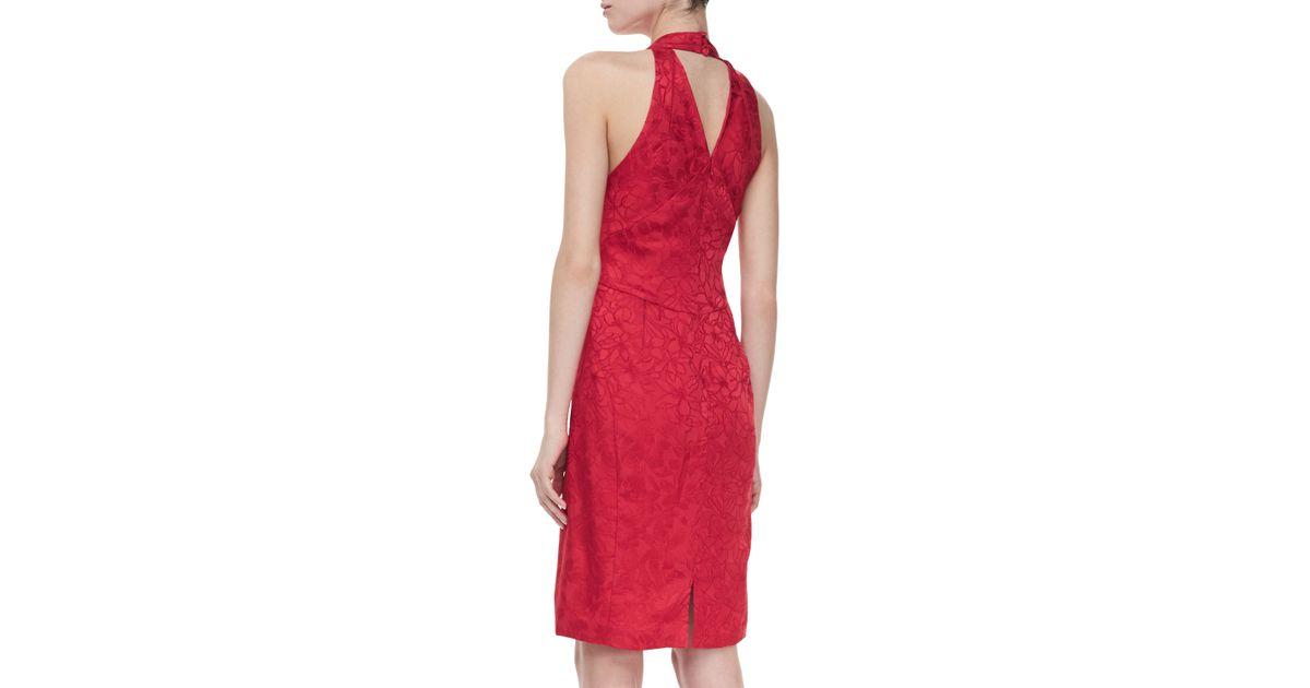 Zac Posen Jacquard Halter Vneck Cocktail Dress Red