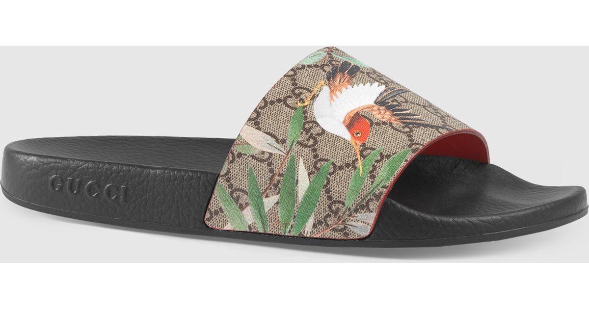 1dee1ffc8d69 Gucci Men s Tian Slide Sandal in Gray for Men - Lyst