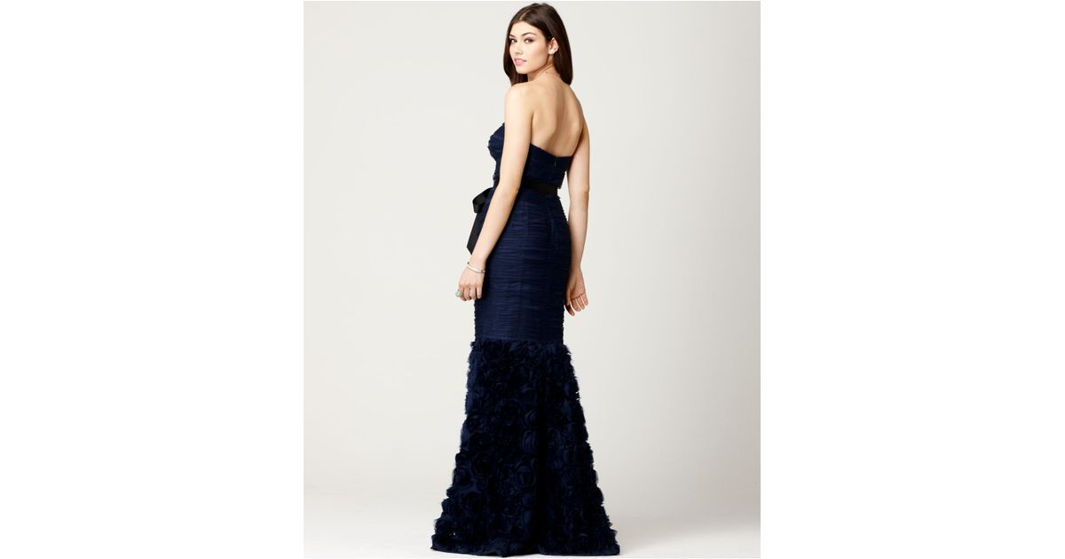 Lyst - Js Collections Strapless Belted Mermaid Gown in Blue