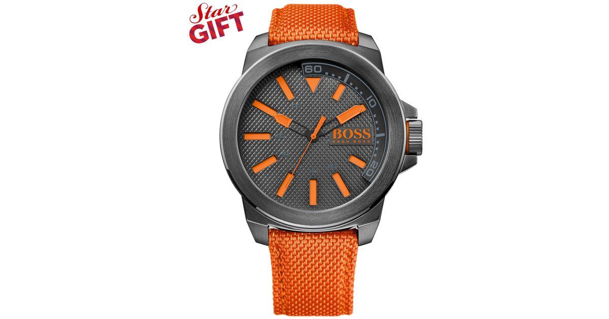 boss orange hugo boss men 39 s orange woven nylon strap watch 50mm 1513010 in orange for men save. Black Bedroom Furniture Sets. Home Design Ideas