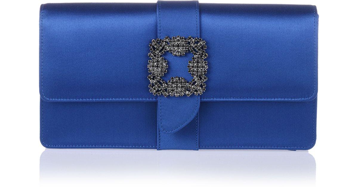 Manolo blahnik Capri Blue Satin Clutch in Blue