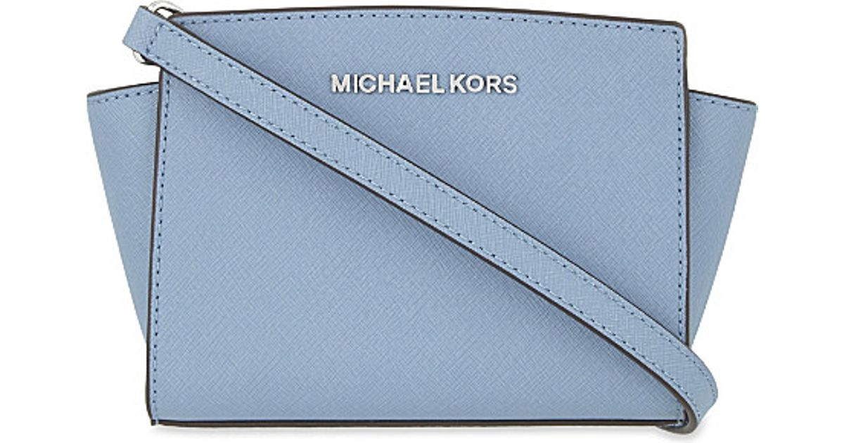 a2743ffb1e Lyst - MICHAEL Michael Kors Selma Mini Leather Messenger Bag in Blue
