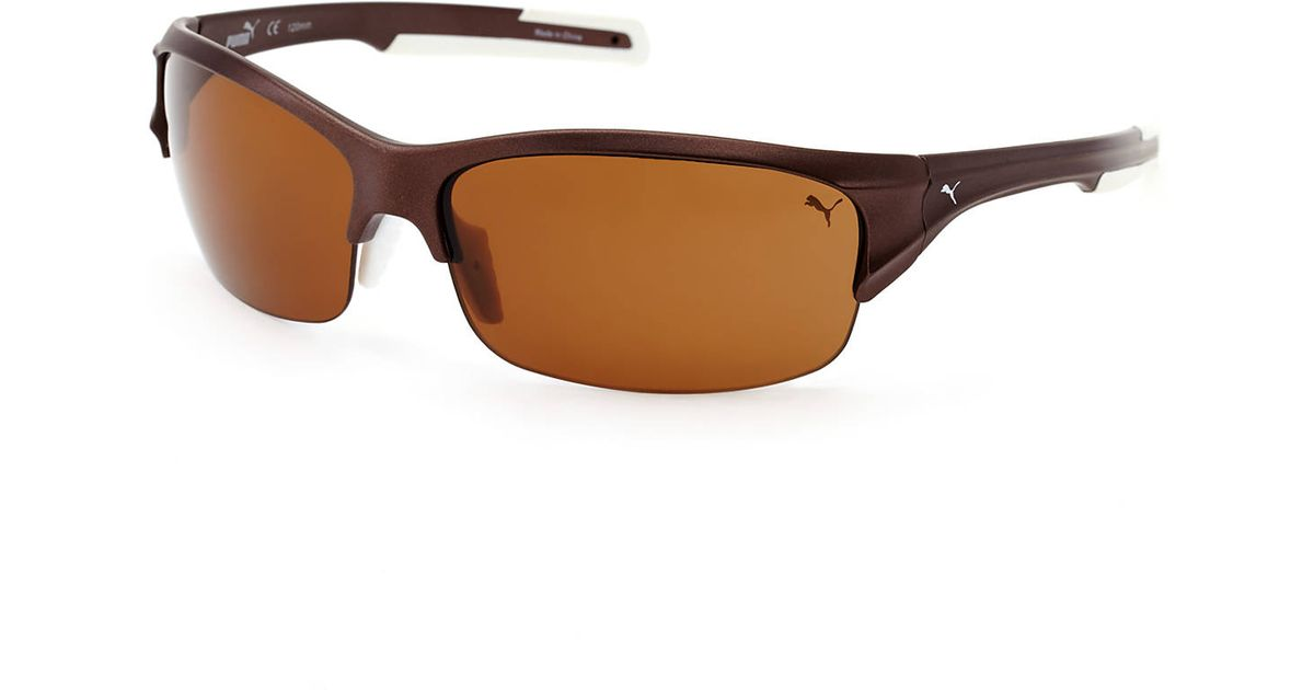 8430b267565 Lyst - Puma Pu14704P Bronze-Tone Half-Rim Wrap Polarized Sunglasses in Brown