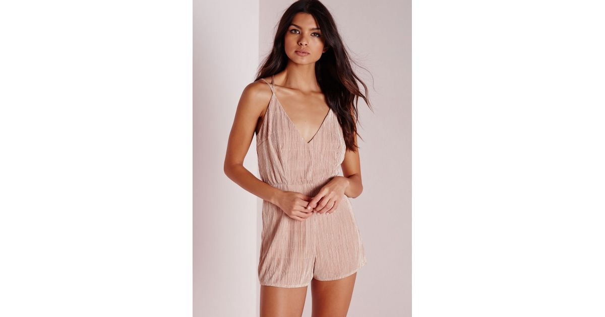 be2b2211c8cf Missguided Strappy Pleated Playsuit Nude in Pink - Lyst