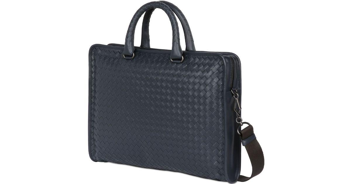 cea2af0df6cc Bottega Veneta Intrecciato Leather Computer Briefcase in Blue for Men - Lyst