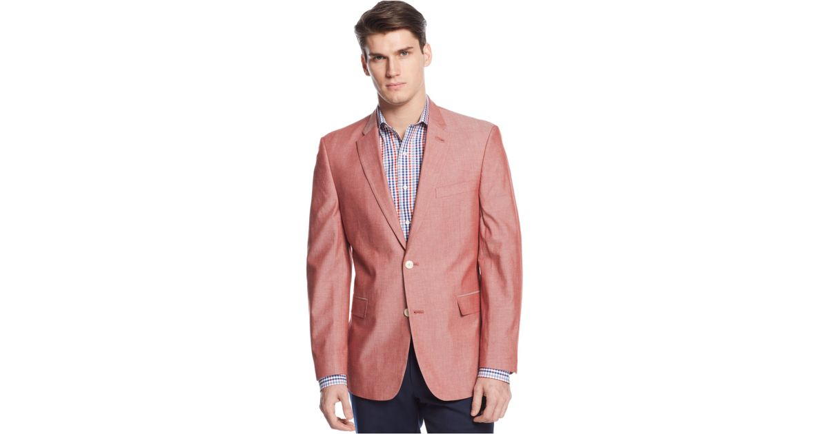 3a63ed4b4 Tommy Hilfiger Red Chambray Classic-fit Sport Coat for men