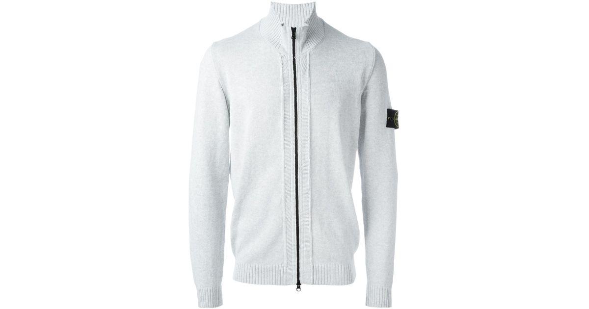 Stone island Crew Neck Full Zip Sweater in White for Men - Lyst
