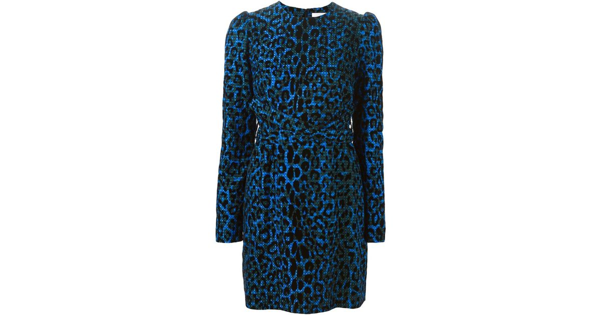 Victoria victoria beckham Leopard Print Dress in Blue  Lyst
