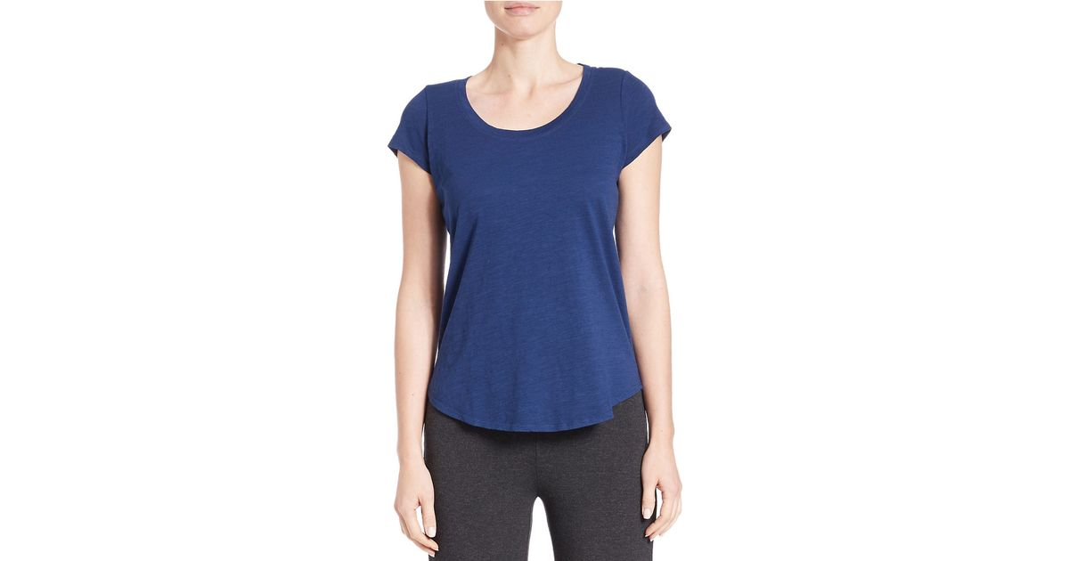 Eileen fisher petite organic cotton shirttail tee in blue for Eileen fisher organic cotton t shirt