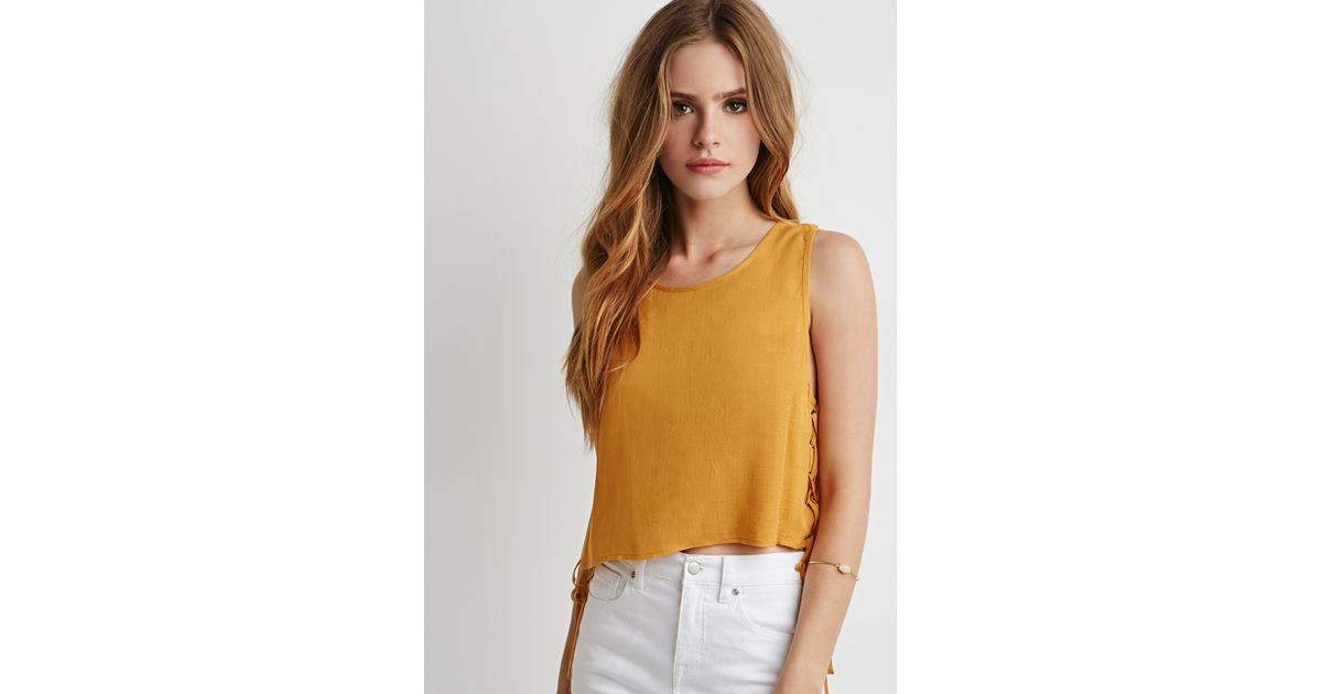 002f7f42965b2 Lyst - Forever 21 Lace-up Crop Top in Yellow