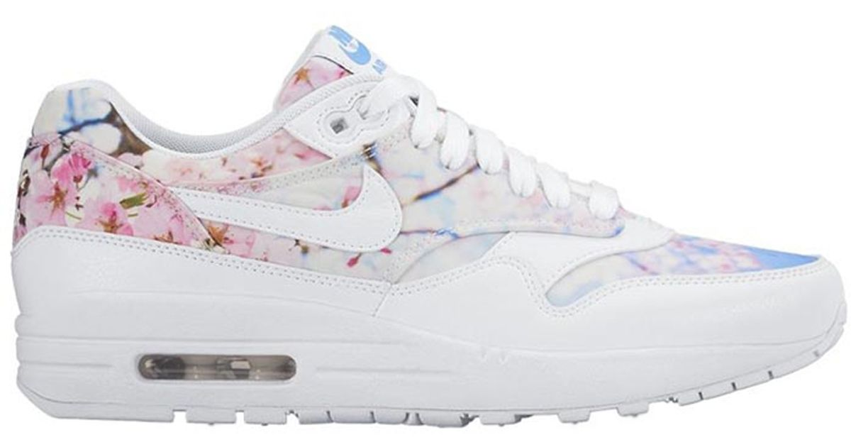 Nike Air Max 1 Cherry Blossom Leather Low Top Sneakers In White Lyst