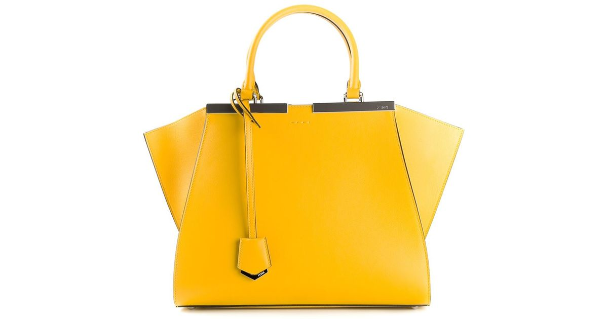 6e4fc463637 discount lyst fendi 3jours tote in yellow 11aea 8bd5a