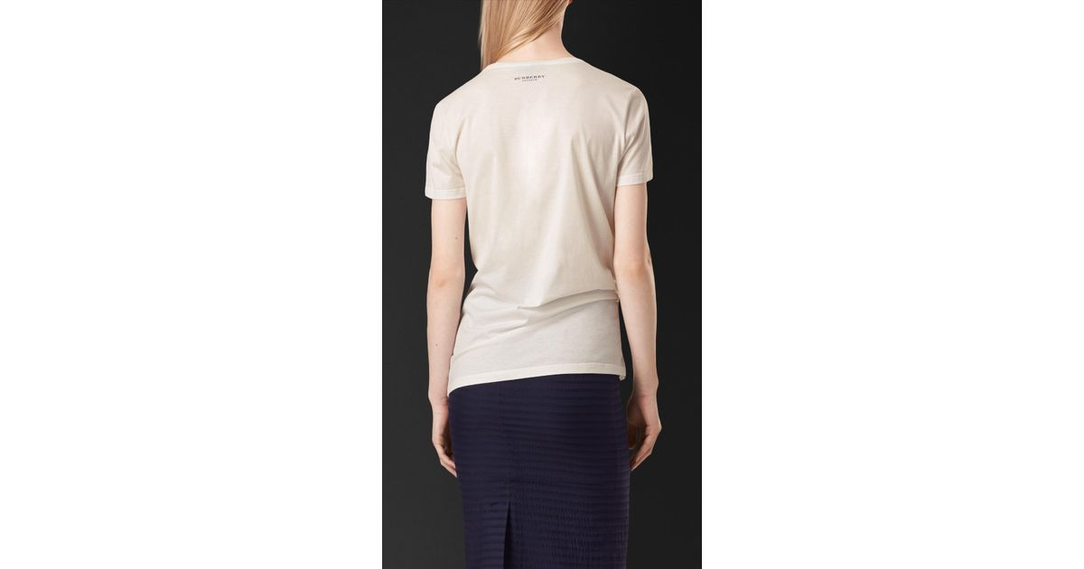 Book Cover White Jeans : Lyst burberry book cover print cotton t shirt in white