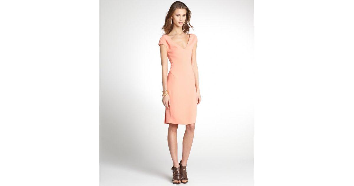 2dd3b015bc79dd Lyst - Rachel Roy Nectar Orange Stretch Wool Crepe Vneck Cap Sleeve Dress  in Orange