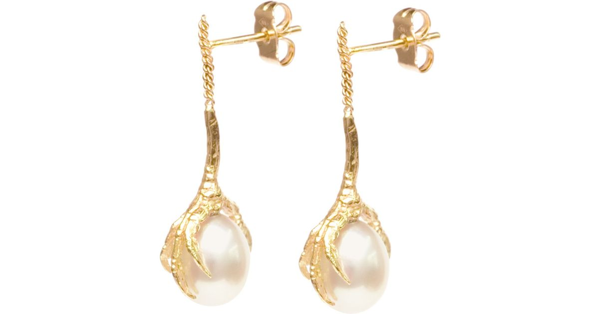 Wouters & Hendrix 18kt gold Crows Claw pearl earrings - Yellow & Orange X4YMA